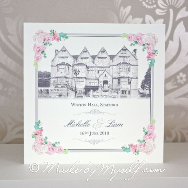 Floral Corners Venue Pocketfold Wedding Invitation